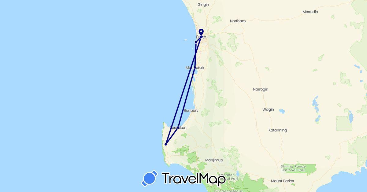 TravelMap itinerary: driving in Australia (Oceania)