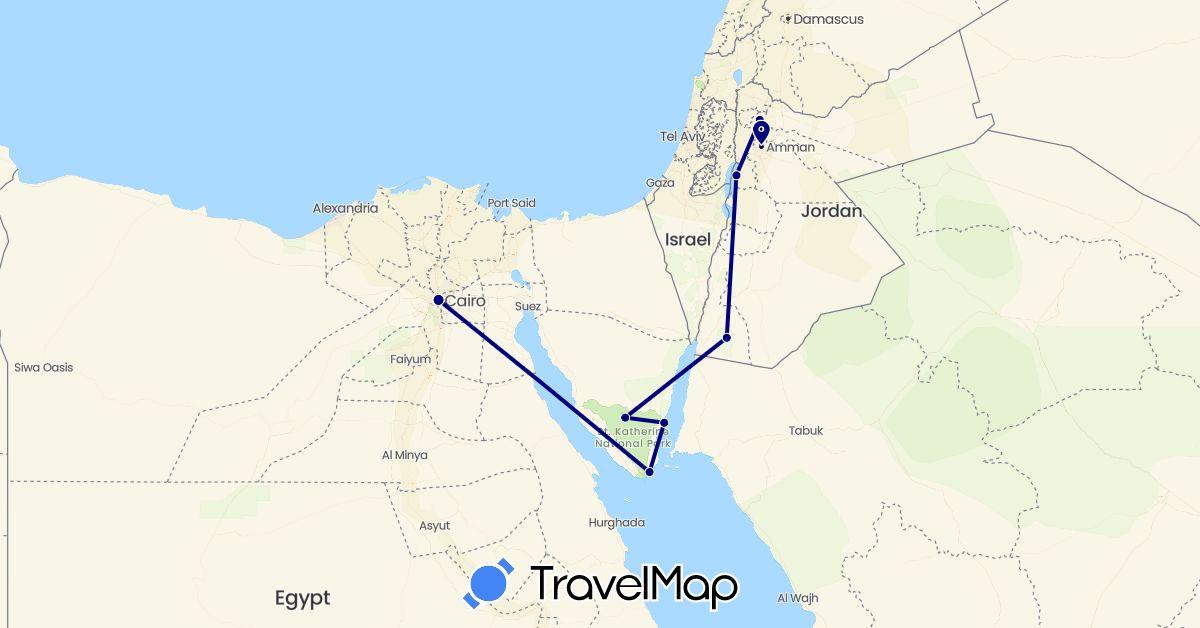 TravelMap itinerary: driving in Egypt, Jordan (Africa, Asia)