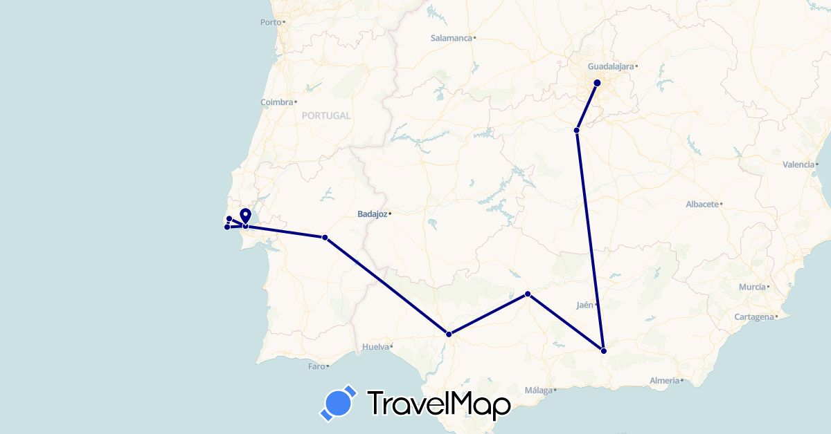 TravelMap itinerary: driving in Spain, Portugal (Europe)